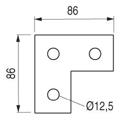 EQUERRE PLATE 3 TROUS STRUT 41 - PS 718